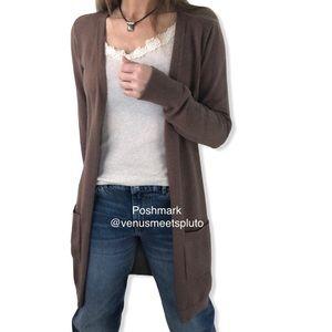 Cotton Emporium Long Ribbed knit brown Cardigan S